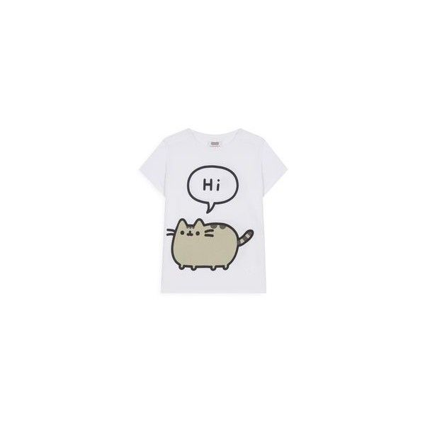 Pusheen t shirt ❤ liked on Polyvore featuring tops, t-shirts, pusheen, cat tee-shirt, cat t shirt, cat print shirt and cat print t shirt