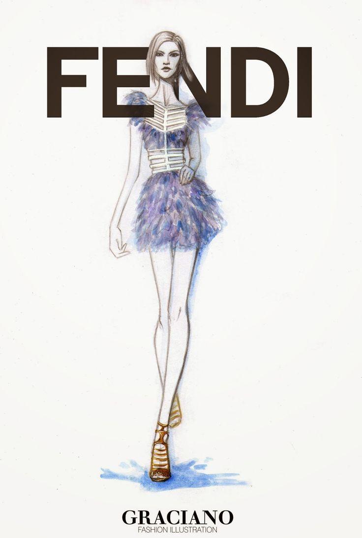 GRACIANO fashion illustration: FENDI SPRING 2015 #MFW ...