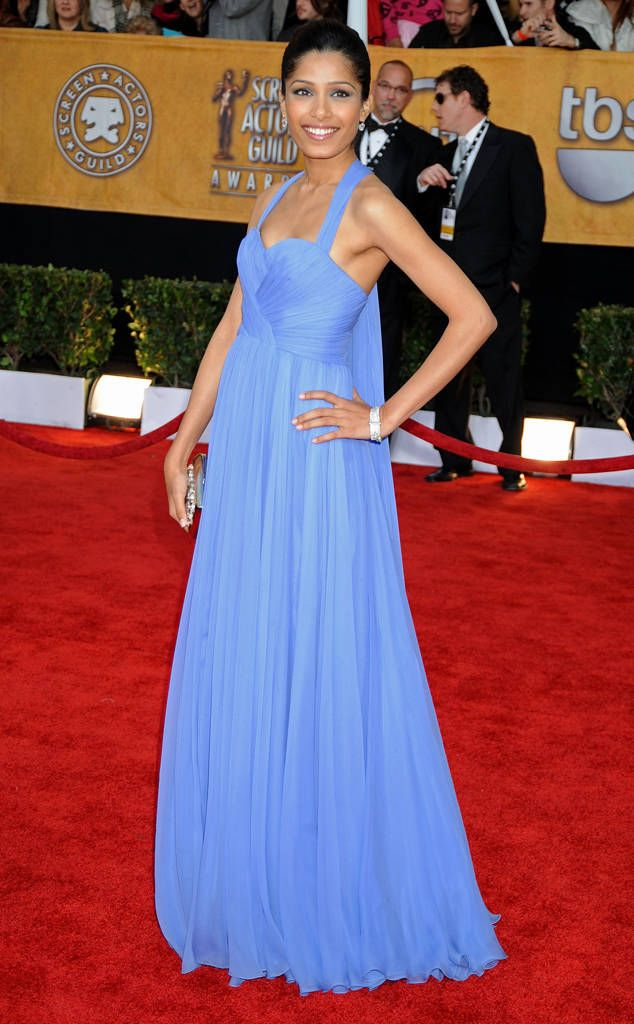 Freida Pinto from Best Dressed Stars Ever at the SAG Awards  At the 2009 SAG Awards, the Slumdog Millionaire star looked enchanted in a periwinkle Marchesa gown.