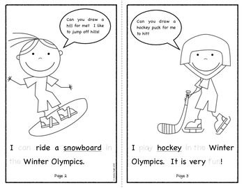 """Sample pages from """"THE WINTER OLYMPIC GAMES {A BOOK FOR EMERGENT READERS}"""" - Learn new and relevant vocabulary, trace common early sight words, and add to the scene on each page as you read about the upcoming Olympic events.   TeachersPayTeachers.com  $"""