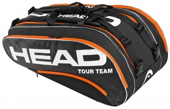 Head Tour Team Monstercombi 2013  This bag has two Large main/racquet compartments with a zippered mesh pocket (up to 8 racquets) Racquet compartments with CCT+ material for 3-5 racquets Two additional accessory compartments detachable wet bag two adjustable, padded shoulder straps and a padded carry handle.  $119.95