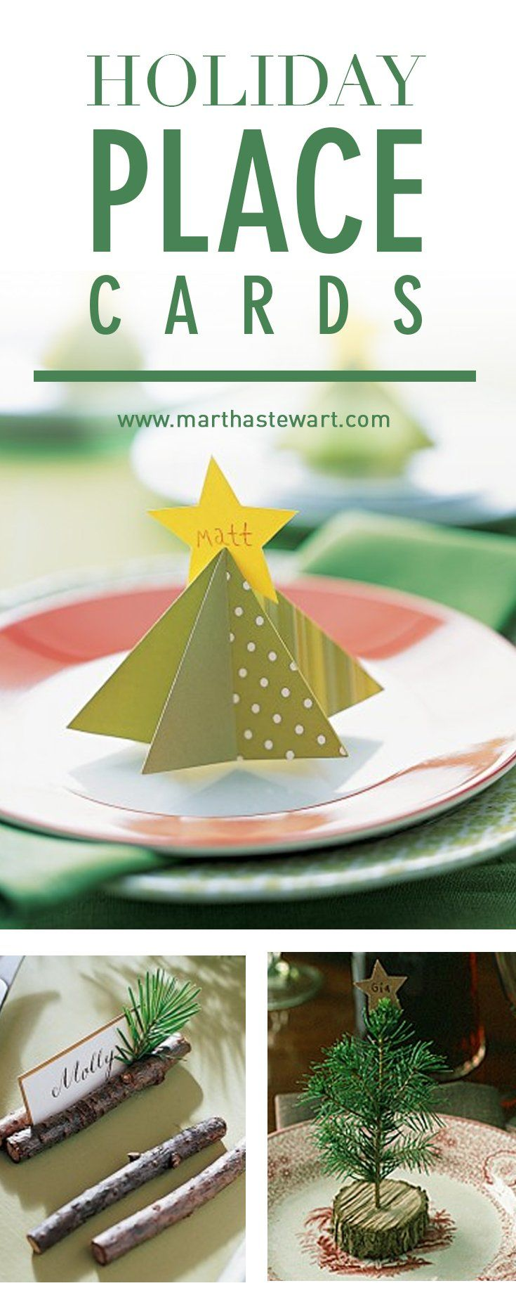 Set your table for a holiday get-together with our homemade place cards, including paper-plate angels, evergreen place-card holders, and more.