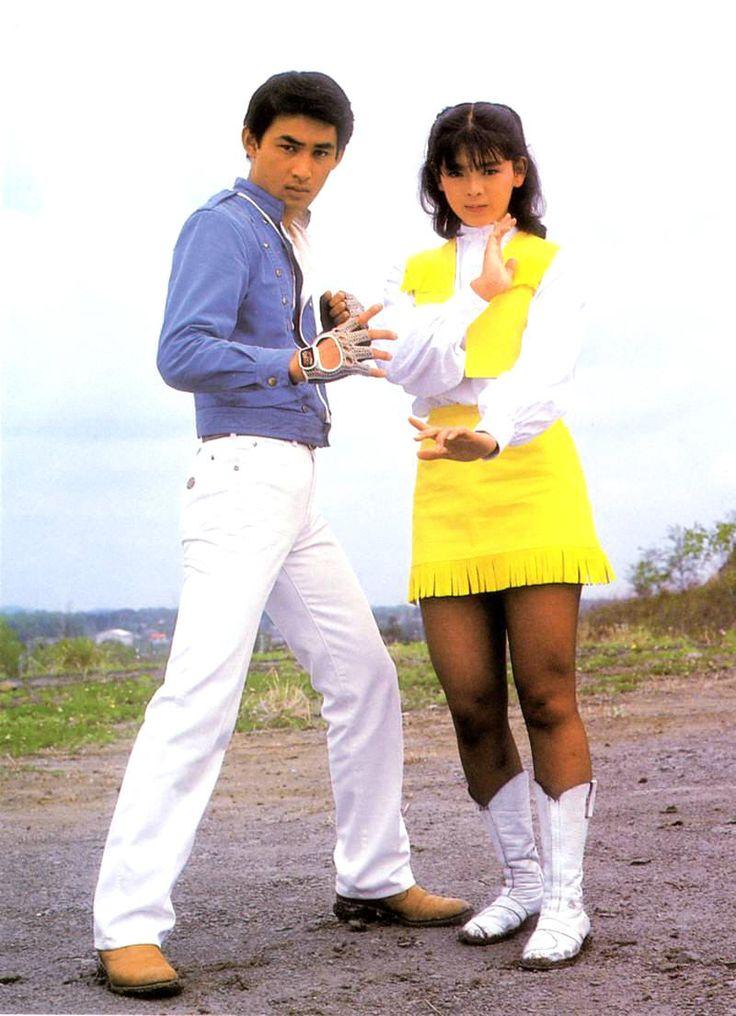 Shaider (1984) - Hiroshi Tsuburaya (Dai Sawamura/ Shaider) e Naomi Morinaga (Annie).