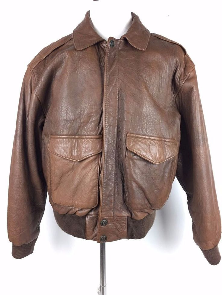 Vintage Adventure Bound A-2 Leather Flight Jacket Bomber Size Large #AdventureBound #FlightBomber