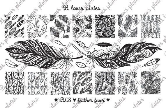B. Loves Plates - B.08 - feather fever ♥  Plate size: 9,5cm x 14,5cm Number of patterns: 22 Pattern size: 1,6cm / 1,7cm x 2,0cm