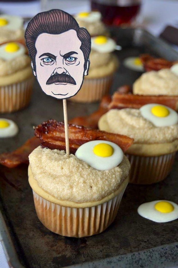 Make a batch of maple breakfast cupcakes that Ron Swanson would approve of. | 27 Ridiculously Creative Ways To Decorate Cupcakes