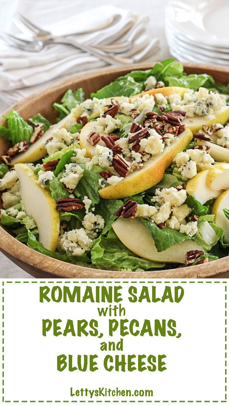 Romaine lettuce salad, with pears, pecans, and blue cheese, and honey Dijon dressing.
