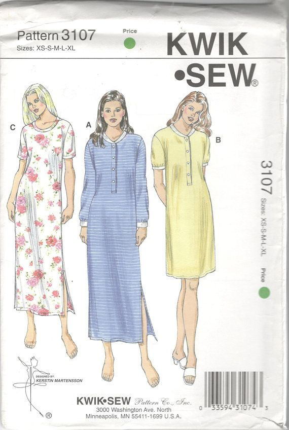Kwik Sew 3107 Misses Pullover Nightgown Pattern Nightshirt Ribbed Neck  Cuffs Womens Sewing Pattern Size XS S M L XL Bust 31 - 45 UNCUT 4c931c7d1