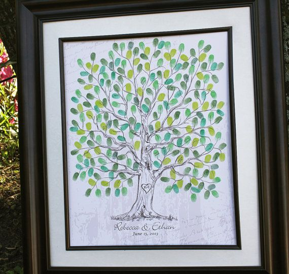 """All guests at rehearsal dinner will stamp their thumb print on the """"new"""" family tree for the bride and groom"""