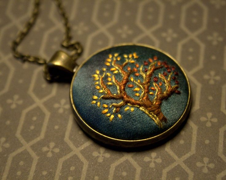 Hand Embroidered Pendant Autumn by LeannasFiberArts on Etsy