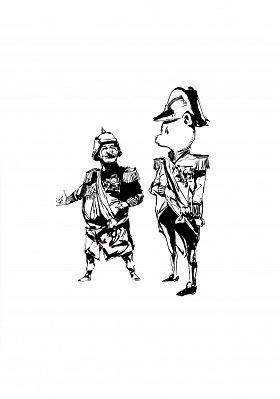 Daniel P. Dwyer: Kaiser Wilhelm und Napoleon. Tusche auf Papier  #BladeRunner #Zeichnung #startyourart www.startyourart.de #danielpdwyer