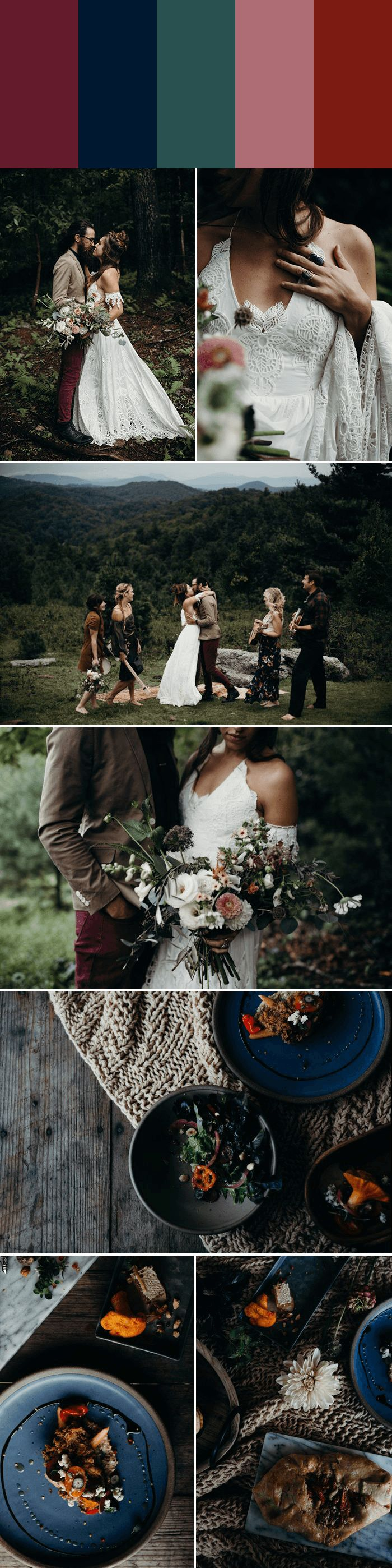 Merlot + Navy + Jade + Mauve + Scarlet for a dark and romantic boho wedding | Images by Michelle Lyerly