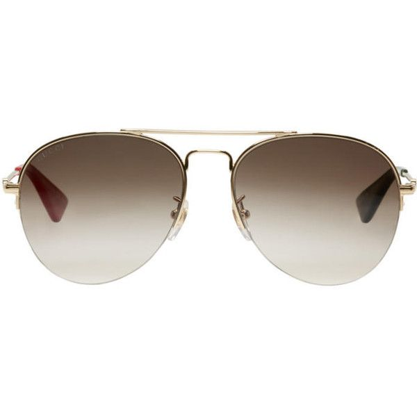 Gucci Gold Aviator Sunglasses (485 CAD) ❤ liked on Polyvore featuring accessories, eyewear, sunglasses, gold, uv protection sunglasses, metal frame glasses, gold lens sunglasses, engraved sunglasses and gold glasses