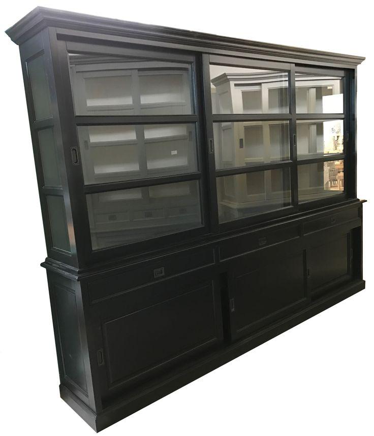 Buffetkast zwrat - grijs Sneek 300cm soft close grote chique zwarte buffetkast met grijze binnenkant en luxe soft close laden