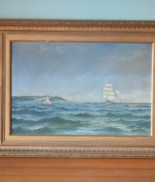 Vintage old oil painting Tall ships framed 1897 London