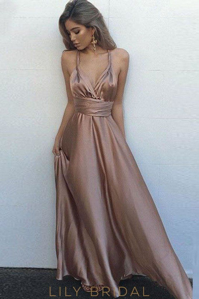 b35949213d3 Mauve A-line Sleeveless Satin Halter Deep V-Neckline Prom Dress