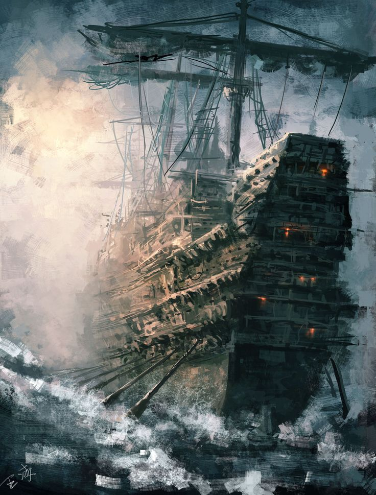 "This is galley, a sort of mixture of sails and oars. Not often used by pirates as too unwieldy. The oars were to get them out of trouble if becalmed, etc. GENTLEMAN OF FORTUNE www.evelyntidmanauthor.com ""Daybreak by Wang Ling"" gefunden auf www.art-of-fantasy.org gepinned von der Hamburger Werbeagentur www.BlickeDeeler.de"