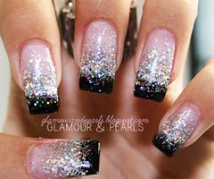 Getting these done<3Nails Art, Nails Design, Black Nails, Glitter Nails, Parties Nails, Black Glitter, Sparkly Nails, New Years, Pink Black