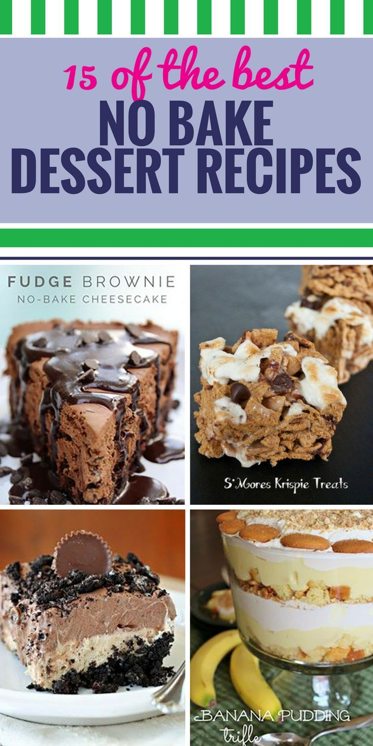 15 No Bake Dessert Recipes. Whether you're short on time or it's too hot to turn on the oven, sometimes no bake desserts are just what you need. Our favorite are the apple crumble bars - watch yourself, or you'll be eating them for breakfast. #food #recipes #desserts #nobake