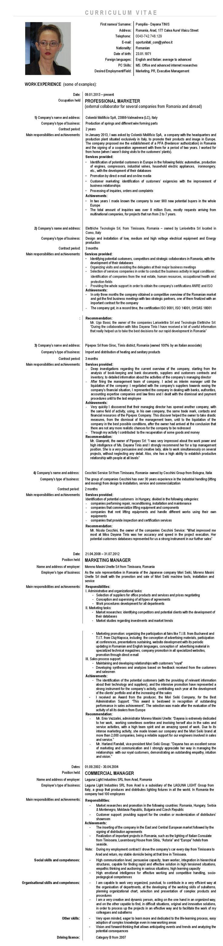 Dayana Tinis - CV in English language