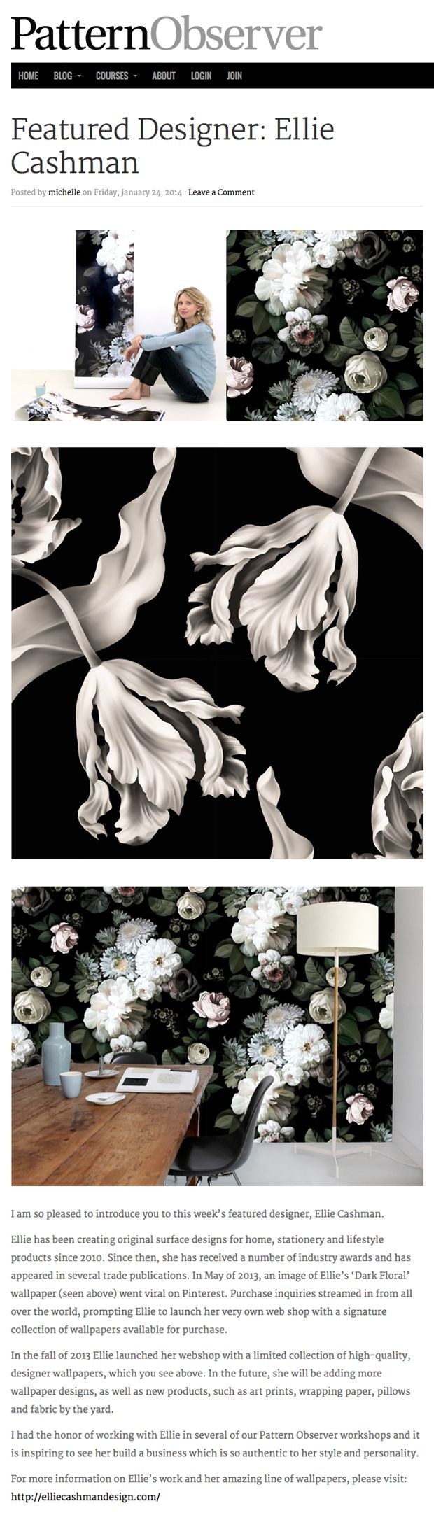 Black floral print wallpaper dark floral wallpaper by ellie cashman - Ellie Cashman Featured Designer At Pattern Observer