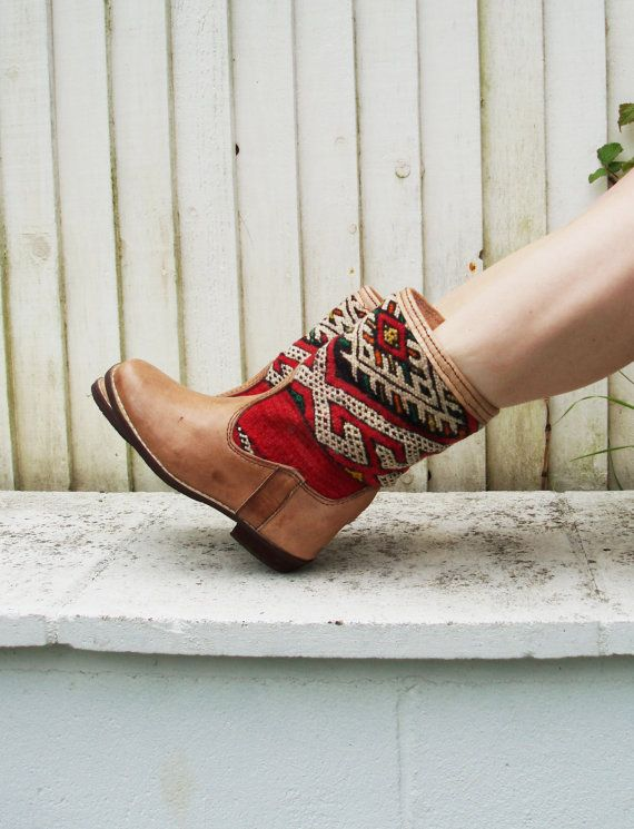 Tan leather Navajo boots size UK 5 US 8 EU 38 by VintageChildShop, £60.00