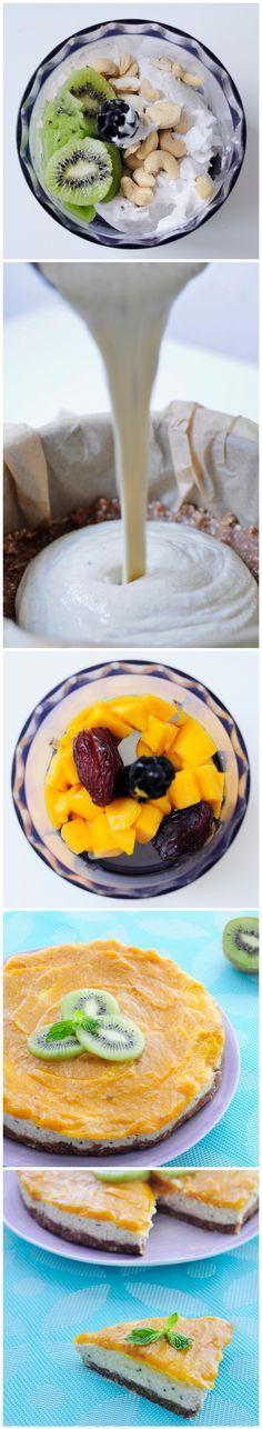 Kiwi Mango Vegan Cheesecake Recipe with an Almond Crust. Only 8 ingredients to make this tropical cake :) #vegan #glutenfree #recipe