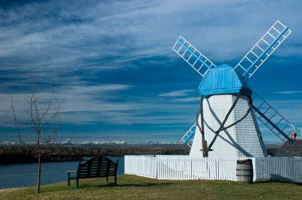 Heritage Park windmill beside the Glenmore reservoir in Calgary