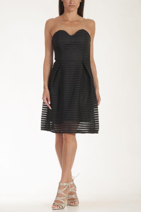 Φόρεμα κοντό μεσάτο στράπλες μαύρο γυναικείο glamorous