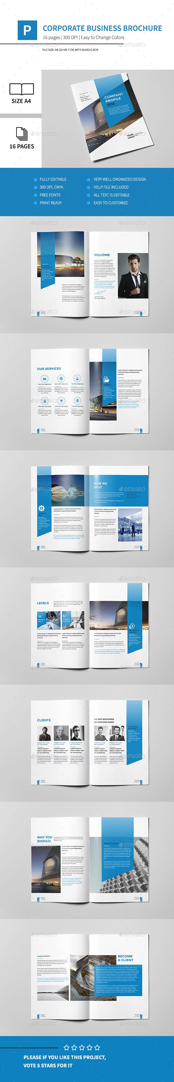Corporate Business Brochure 16 Pages A4 Template InDesign INDD #design Download…