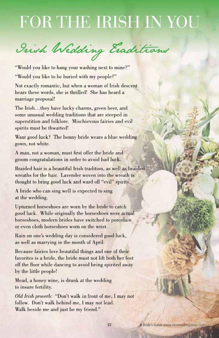 @Elizabeth Lockhart Lockhart Lockhart Devlin see the note about marrying in april! Irish wedding traditions