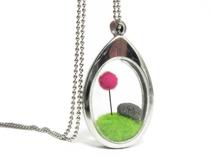 Terrarium Locket, Pom Pom Pink Truffula Tree on Green Grass Hill Needle Felted with Unless Rock, Silver Finish
