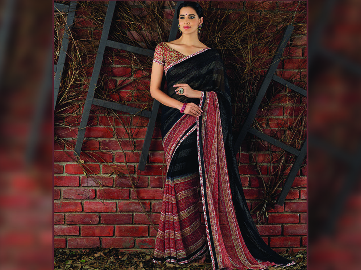 Explore this Amazing Black & Red Georgette Foil Work Saree and Satin Silk Multicolor Blouse along with Satin Silk Printed Lace Online at www.laxmipati.com. Limited stock! 100% Genuine Products! #Catalogue #SIFAANI #Design Number: 4395 #Price - Rs. 1742.00  #Bridal #ReadyToWear #Wedding #Apparel #Art #Autumn #Black #Border#CasualSarees #Clothing ‪#ColoursOfIndia ‪#Couture #Designer#Designersarees #Dress #Dubaifashion #Ecommerce #EpicLove ‪#Ethnic#Ethnic