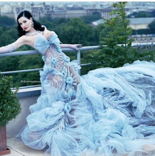 Blue wedding dress Dita Von Teese