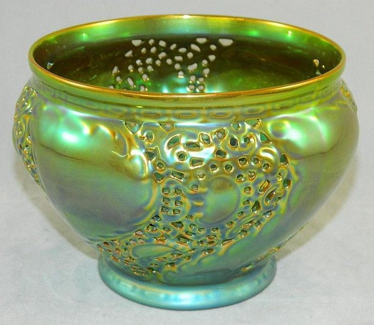 "Zsolnay Green/Yellow Iridescent and Reticulated Bowl, 4.75"" from Anam Cara Fine Art & Antiquities Exclusively on Ruby Lane"