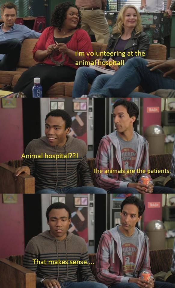 Troy goes from gleefully excited to woefully disappointed in half a second. Poor Troy...the animals are the patients. #Community