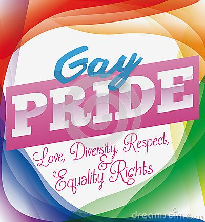 Poster with conceptual rainbow colors, greeting sign and some precepts to commemorate Gay Pride.
