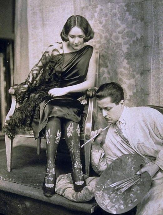 "maudelynn: ""Hand Painted Stockings ~ c.1922 """