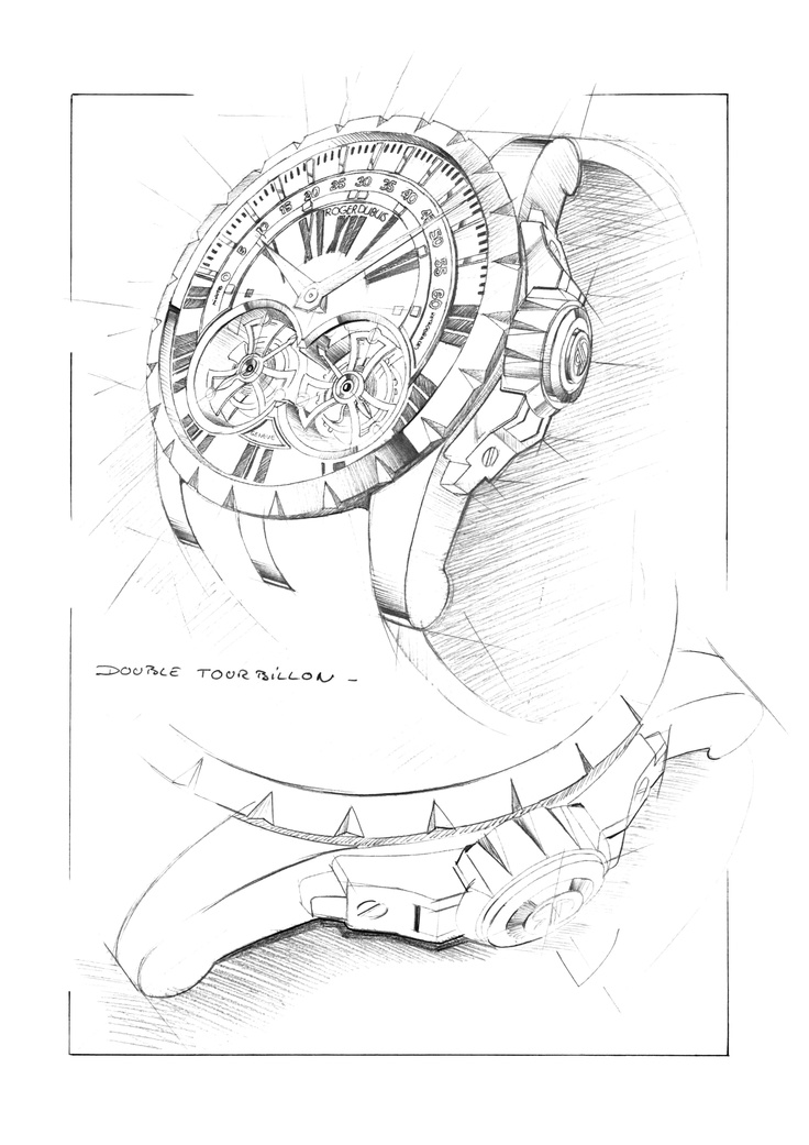 Design sketch for the Excalibur Double Tourbillon