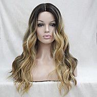 kvalitet+värmebeständigt+mörkbrun+med+gyllene+blond+tre+ton+ombre+vågig+spets+front+lång+peruk+–+USD+$+133.98