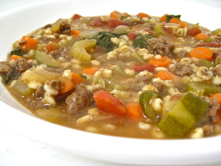 Skinny Beef, Vegetable and Barley Soup (Stove Top or Crock Pot). If you love a thick, flavorful, hearty soup, this NEW main course soup is for you!!! Each 1½ cups serving has only 172 calories 2 grams of fat and 4 Weight Watchers POINTS PLUS. http://www.skinnykitchen.com/recipes/skinny-beef-vegetable-and-barley-soup-stove-top-or-crock-pot/