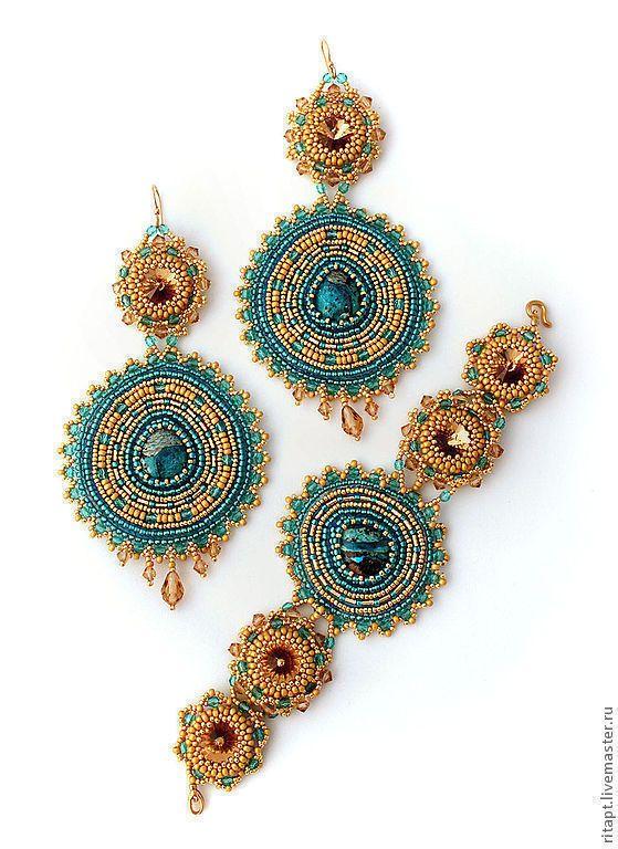 """Купить Крупные серьги из бисера """"Индийская Принцесса"""", вышивка бисером - бирюзовый, серьги длинные"""