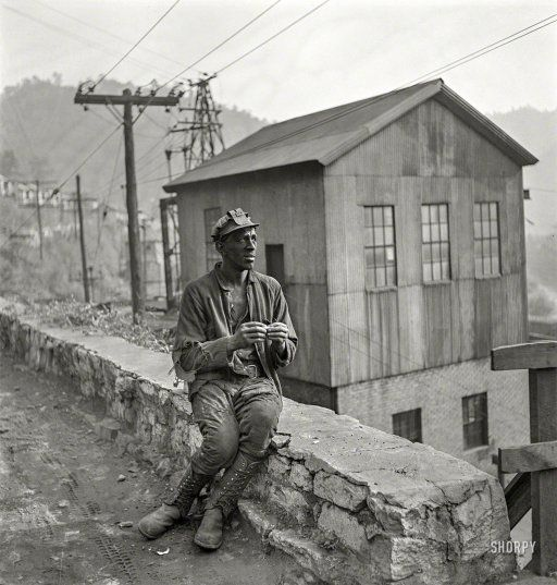 """""""Coal miner waiting for lift home."""" Capels, West Virginia, 1938. http://www.shorpy.com/node/21071 Marion Post Wolcott"""
