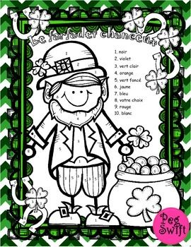 Students will enjoy coloring this Lucky Leprechaun (le farfadet chanceux). Perfect printable as morning work or center work for St. Patrick's Day and Spring!This colour-by-number activity allows for a quick review of French numbers and colour words. Students practice recognizing and saying numbers and colour words as well as develop fine motor skills.
