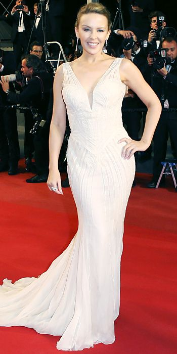 Kylie Minogue in white Roberto Cavalli in Cannes 2013