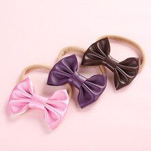Dejorchicoco 3pcs/lot Youngsters Women Mushy Bow Leather-based Headbands With Elastic Nylon H…