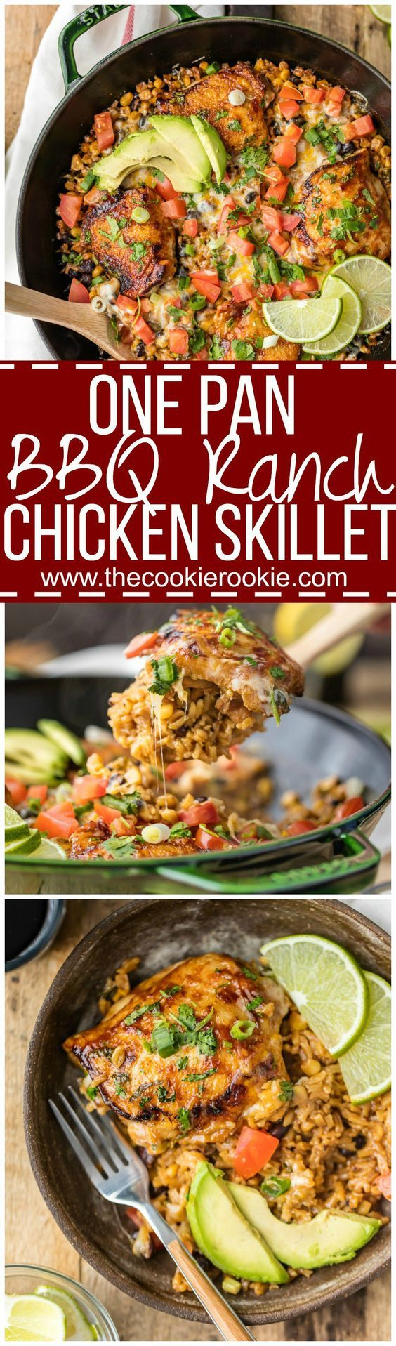 ONE PAN BBQ RANCH CHICKEN SKILLET, the perfect easy recipe for families! Best weeknight meal packed with cheese, corn, beans, chicken, cilantro, RANCH, and bbq sauce! MADE IN ONE POT! @hvranch  @walmart spon