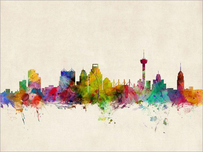 San Antonio Texas Skyline Art Print 12x16 up to 24x36 by artPause, £12.99