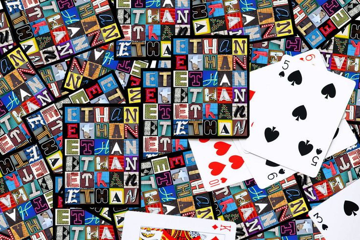 Personalized Playing Cards featuring the name ETHAN in letters from photos of actual signs; Deck of cards; Poker; Playing card by SignYourNames on Etsy https://www.etsy.com/listing/209508219/personalized-playing-cards-featuring-the