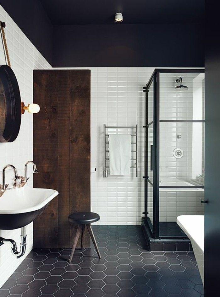 vasque salle de bain sol en carreau tabouret petit bois
